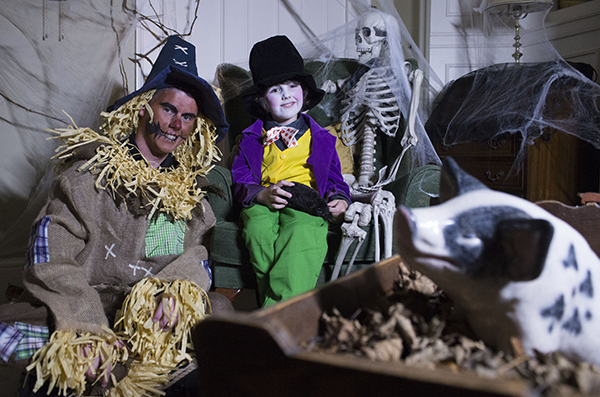 "Free Pic no repro fee  Egeor the Scarecrow and Flynn Johansson as Willy Wonka  pictured at Lord Ghoulsley's Manor, Cuskinny Court in Cobh.  A Halloween spell has transformed the Georgian Manor House & Estate into ""Lord Ghoulsley's Manor"", an interactive and immersive Halloween experience running from 23rd October until 1st November 2015 from 2pm to 8pm each day.   see https://www.ghoulsleysmanor.com/ Pictures by Gerard McCarthy 087 8537228   more info contact  Renate Murphy 086 8145462"