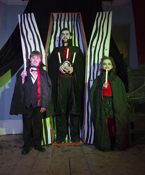 "Free Pic no repro fee  Vladmir the Vegetarian Vampire with Anna Coakley  and Eugene O'Reilly from Cobh pictured at Lord Ghoulsley's Manor, Cuskinny Court in Cobh.  A Halloween spell has transformed the Georgian Manor House & Estate into ""Lord Ghoulsley's Manor"", an interactive and immersive Halloween experience running from 23rd October until 1st November 2015 from 2pm to 8pm each day.   see https://www.ghoulsleysmanor.com/ Pictures by Gerard McCarthy 087 8537228   more info contact  Renate Murphy 086 8145462"